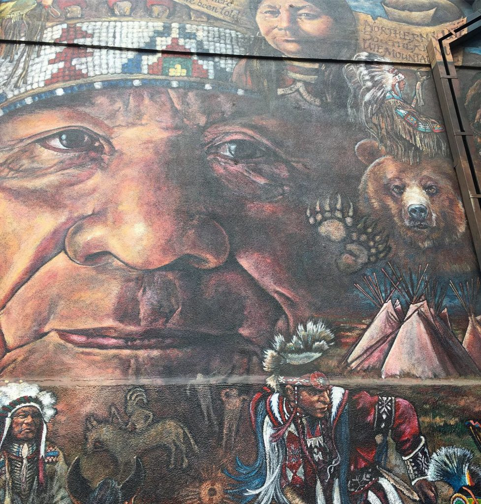 Wall art on the Ute Pass Cultural Center close up.