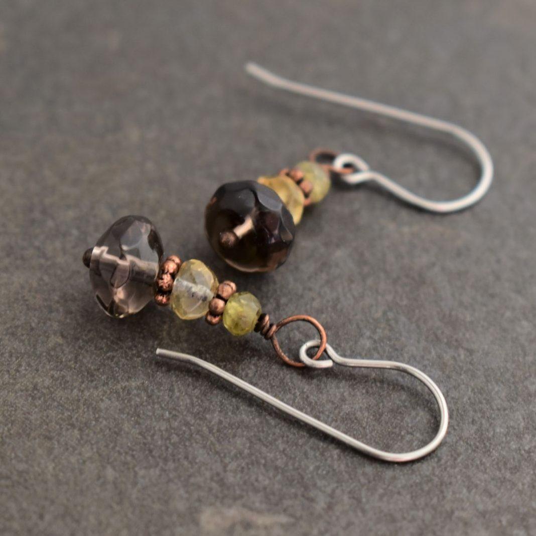 grossalar garnet,citrine, smoky quartz earrings (3)