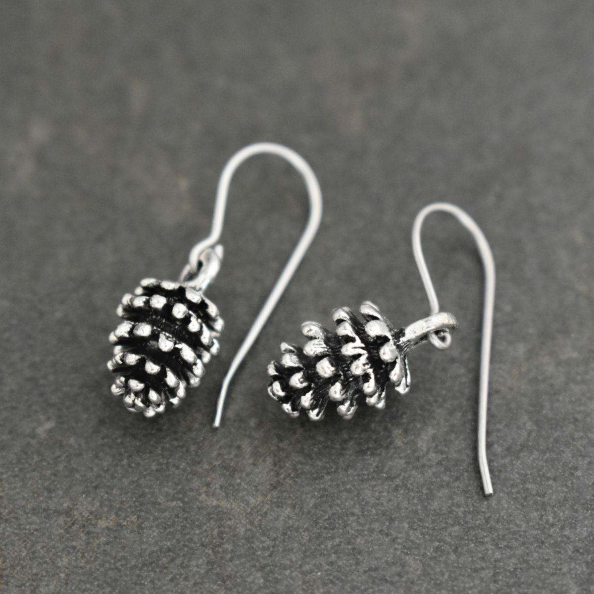 White fir pine cone earrings