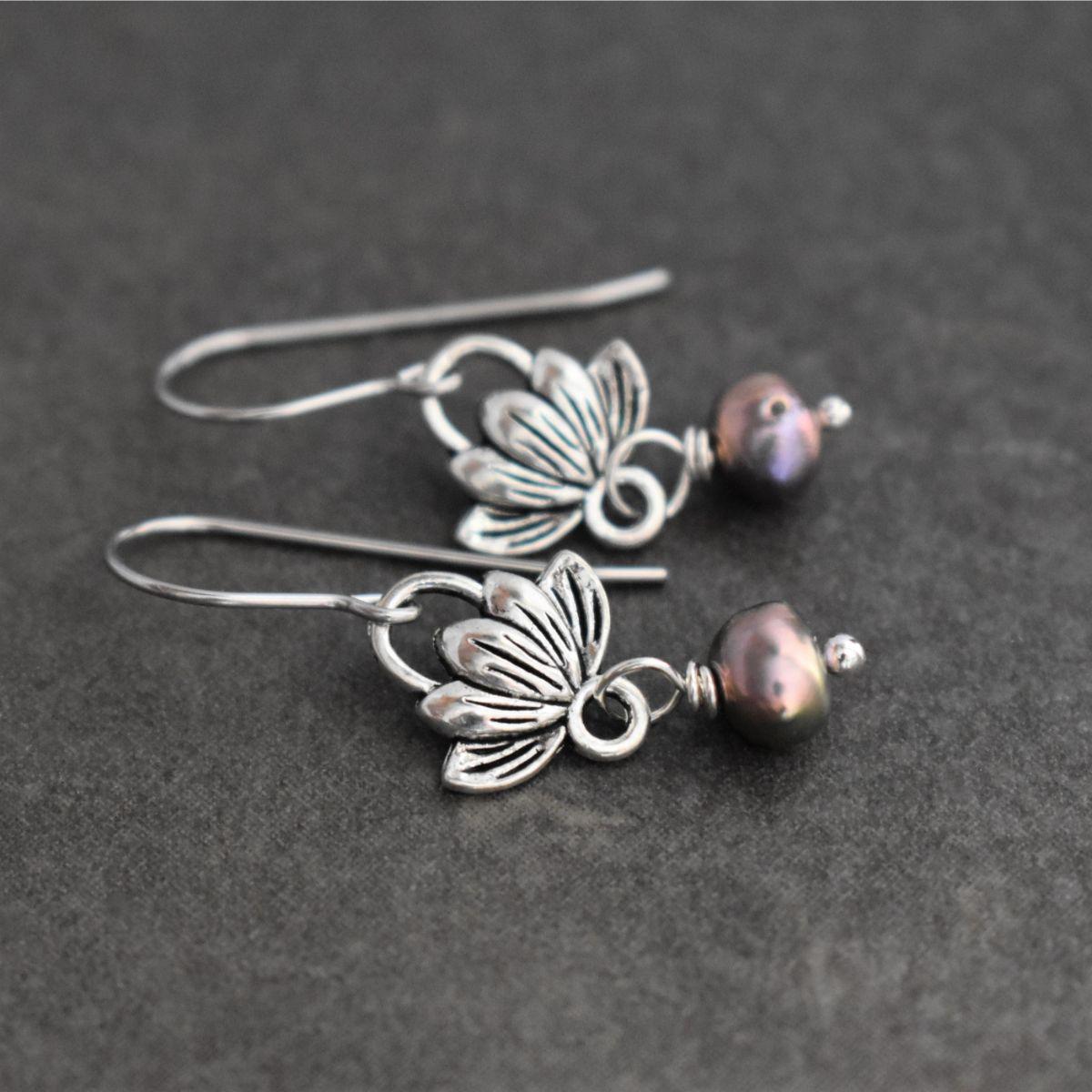 Lotus and Pearl earrings