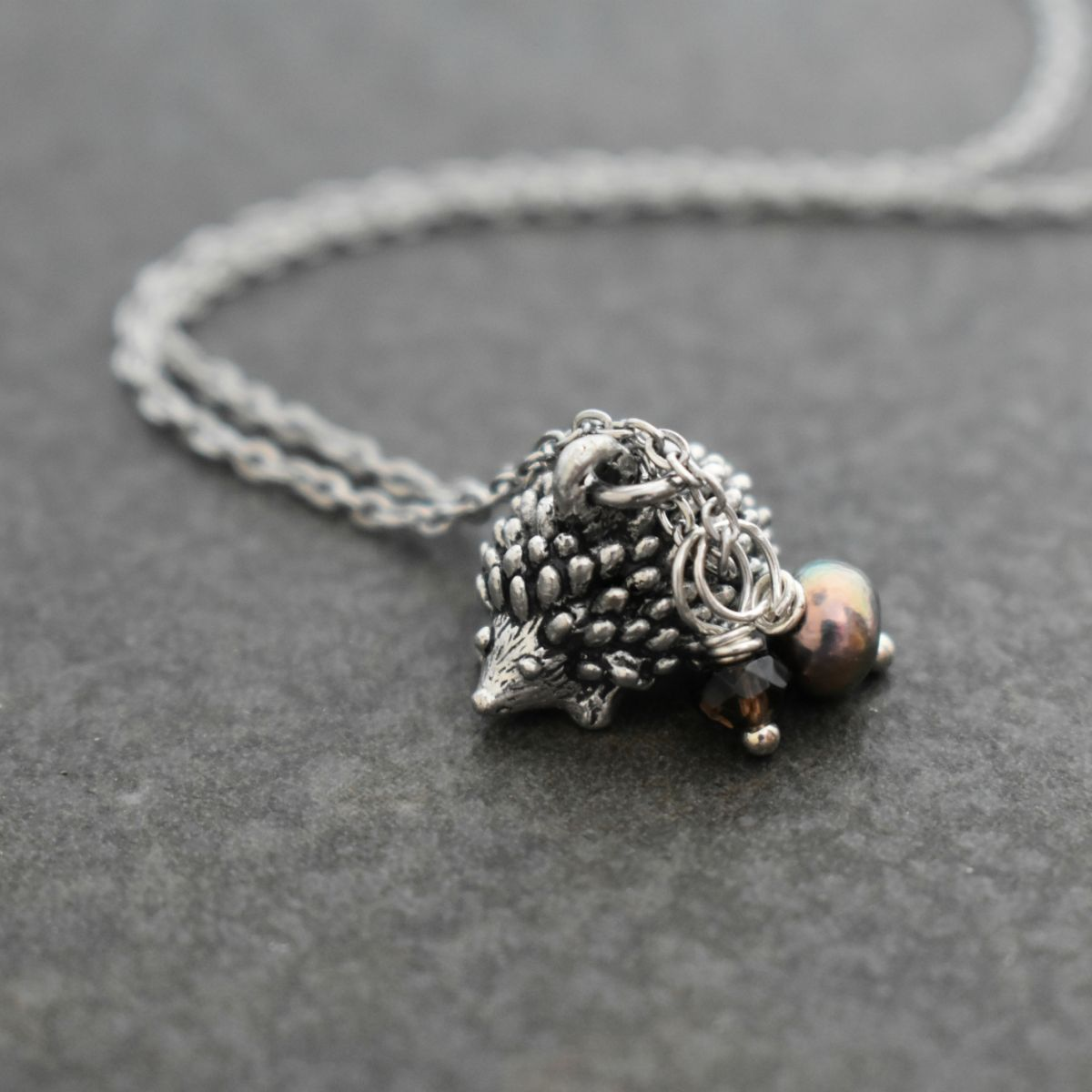 Hedgehog and gemstones.