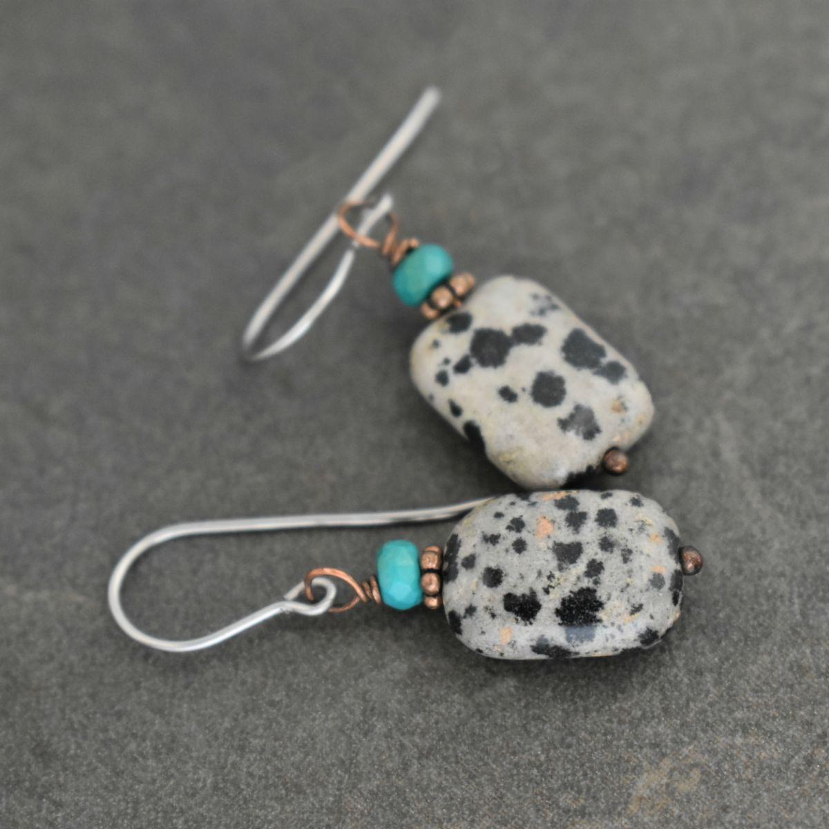 Black and White Stone earrings