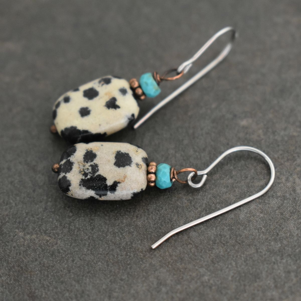 Turquoise and dalmatian jasper rectangle earrings