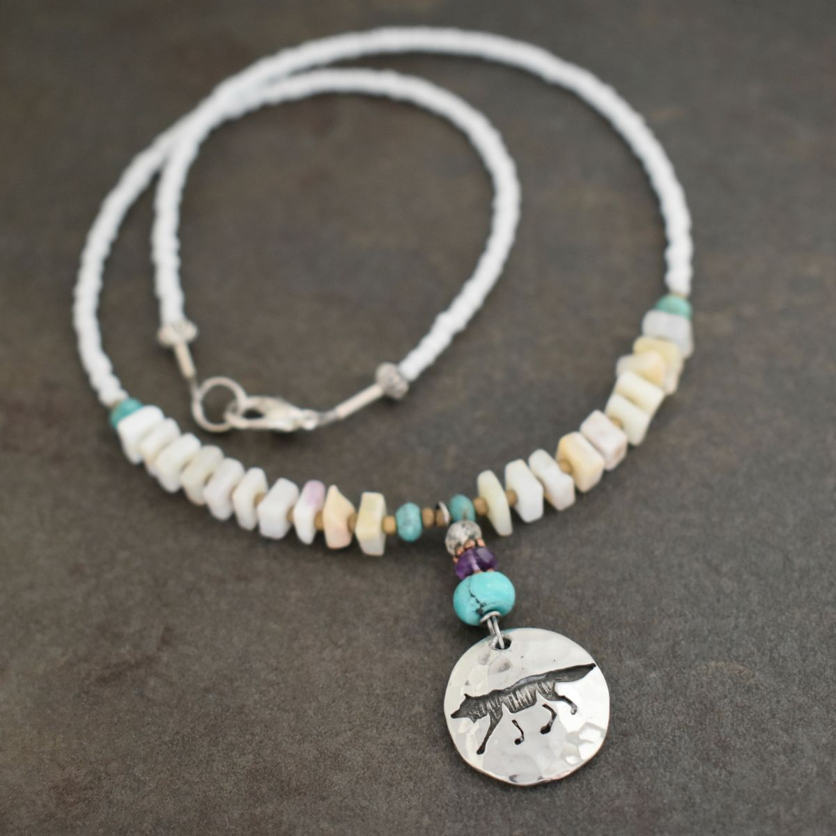 Wolf Necklace with opal and Turquoise