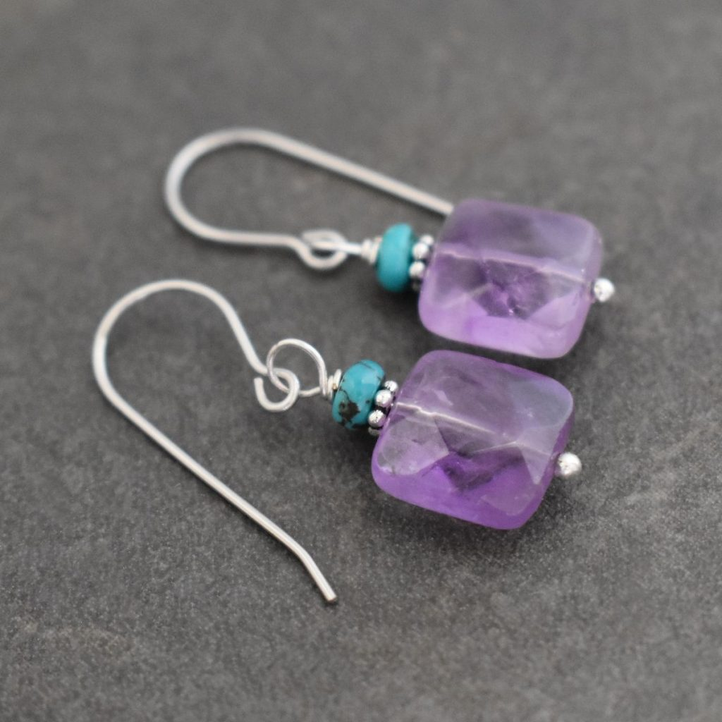 blue turquoise and purple amethyst square gemstone earrings