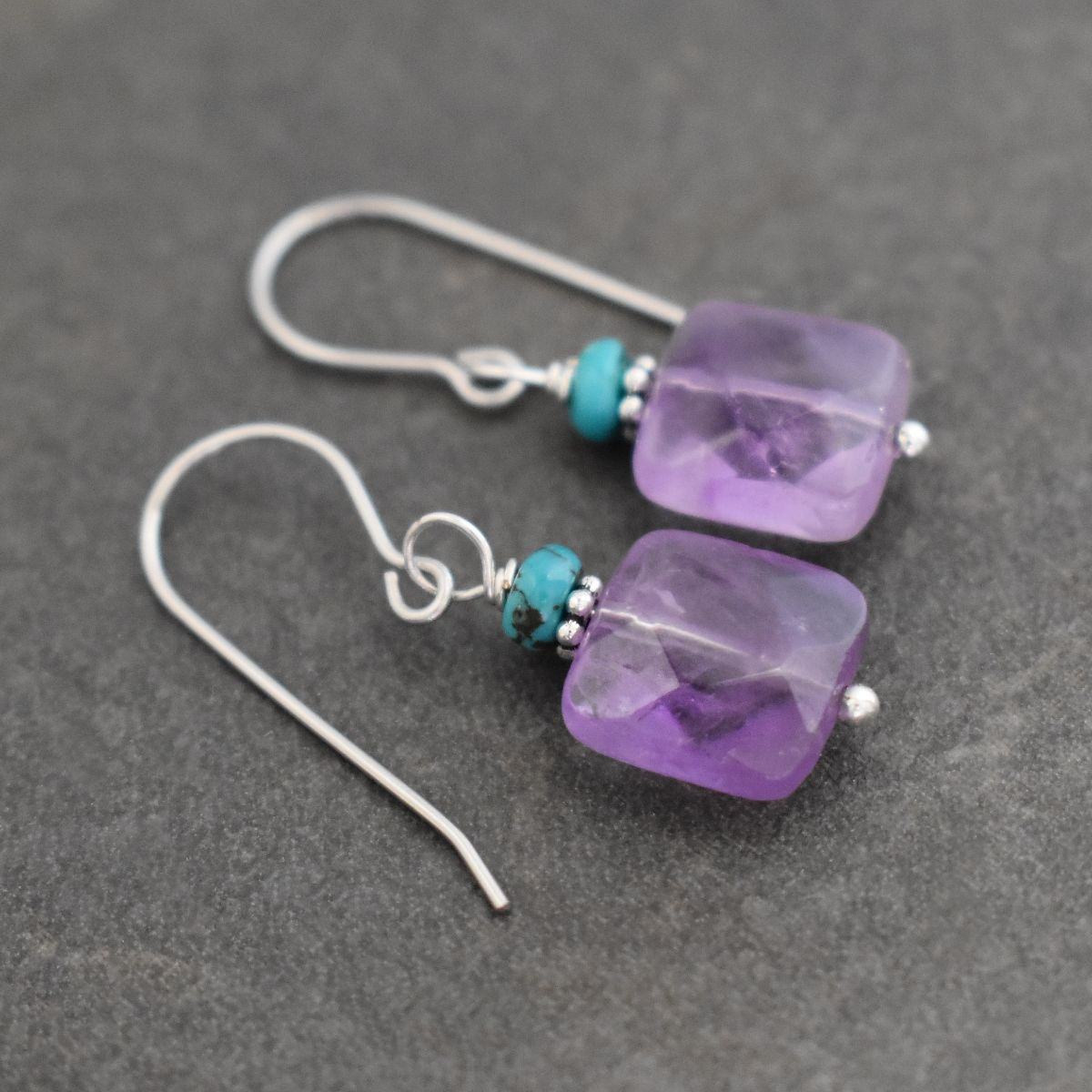 Turquoise & Amethyst Square Earrings