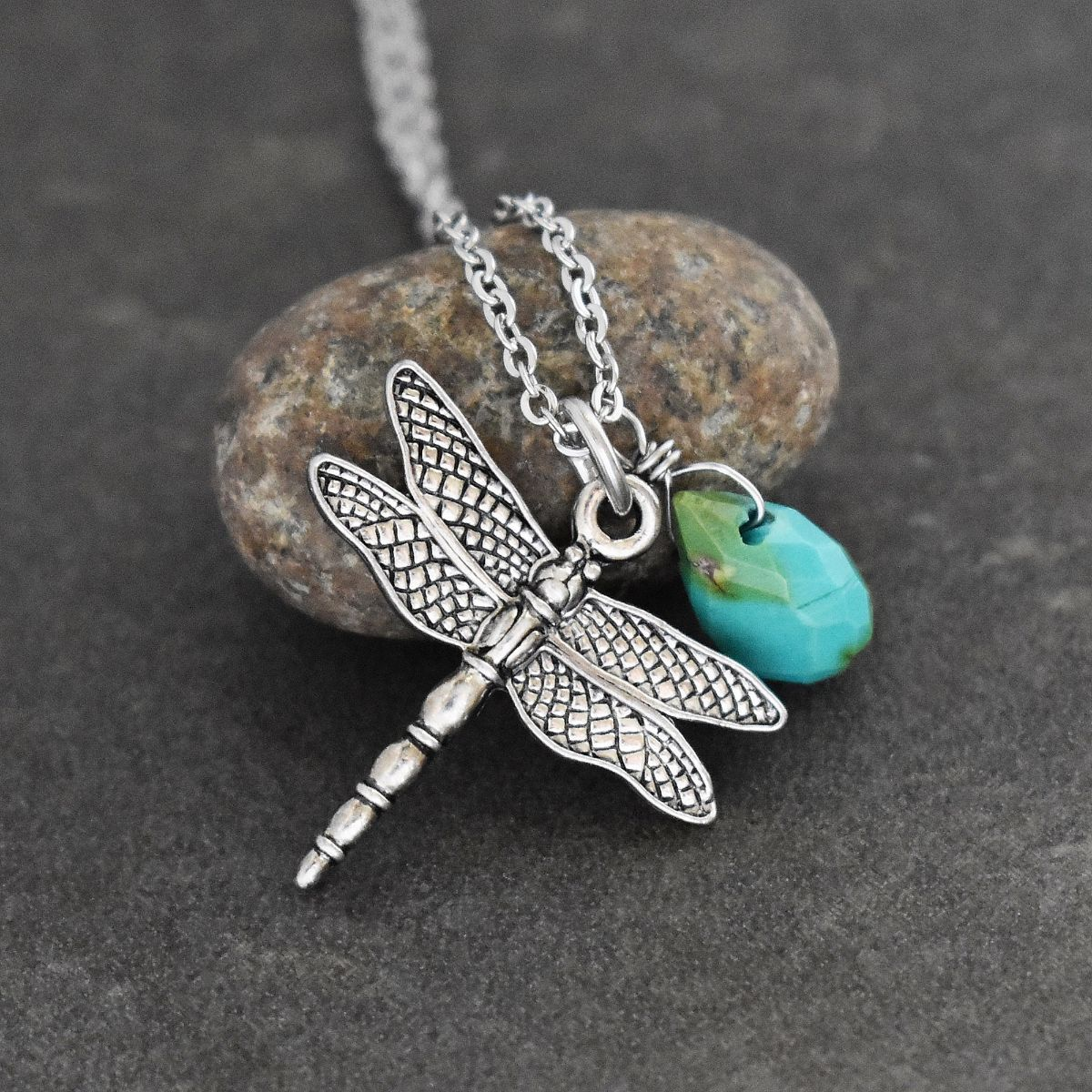 Dragonfly & Turquoise Drop Necklace