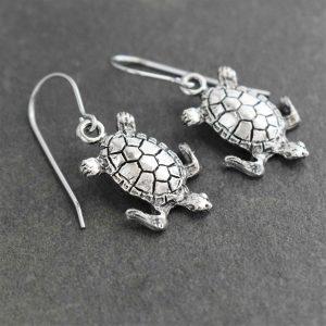 silver sea turtle earrings