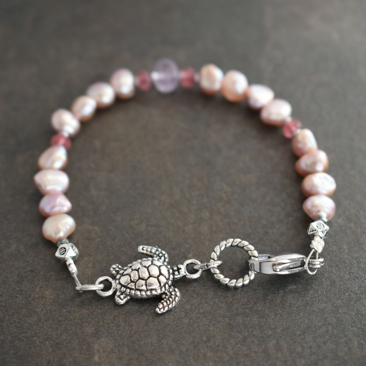Sea Turtle Bracelet with Pink Pearls