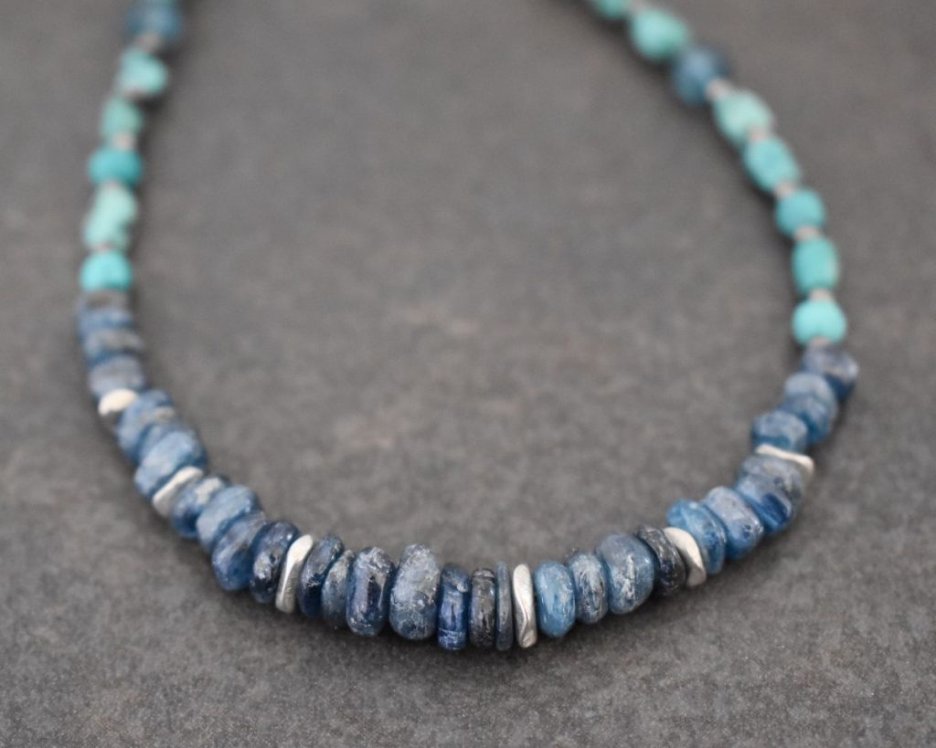 beaded necklace with chunky turquoise and blue gemstones