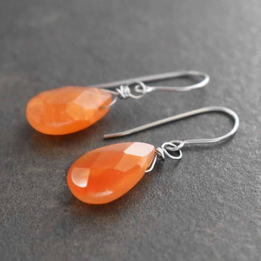 Orange Drop Gemstone earrings