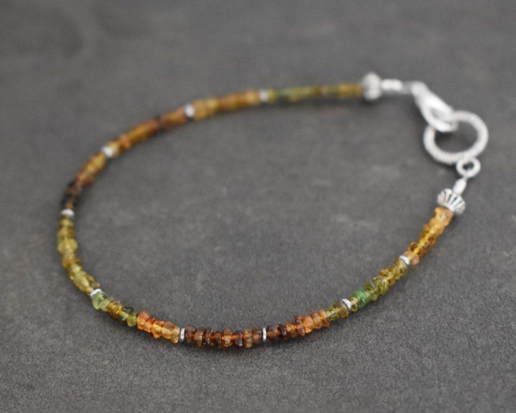beaded bracelet with small Brown Tourmaline gemstone