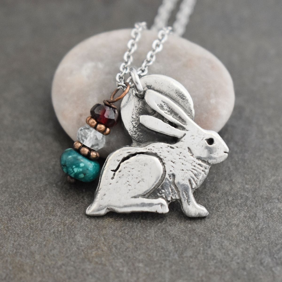 Rabbit Necklace with Turquoise