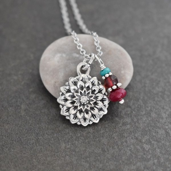 Silver flower Pendant with pink gemstones with silver spacers