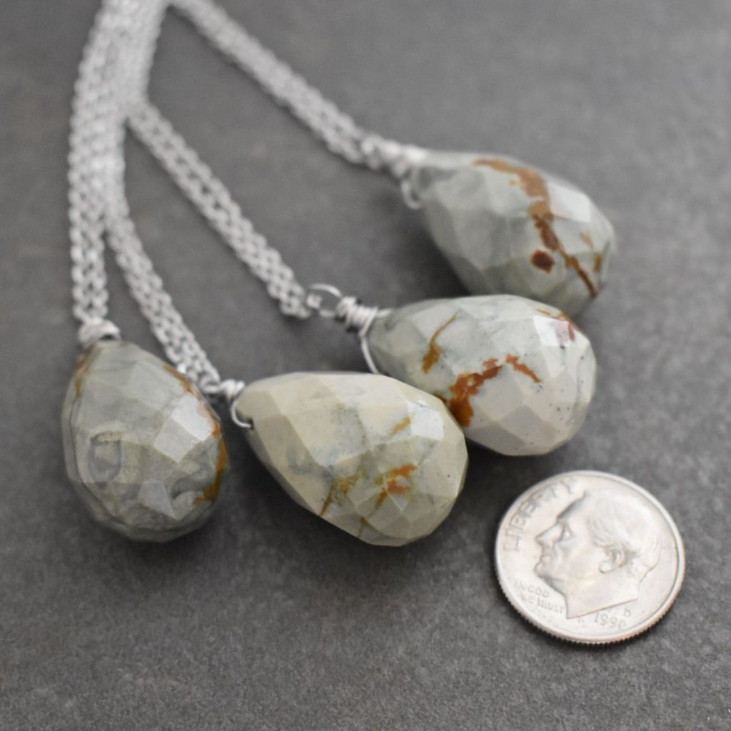 Gray and brown jasper stone drop pendants