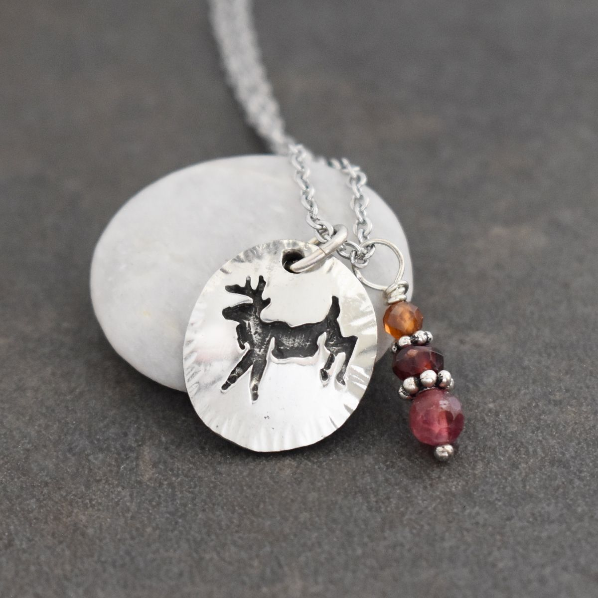 Jumping deer necklace