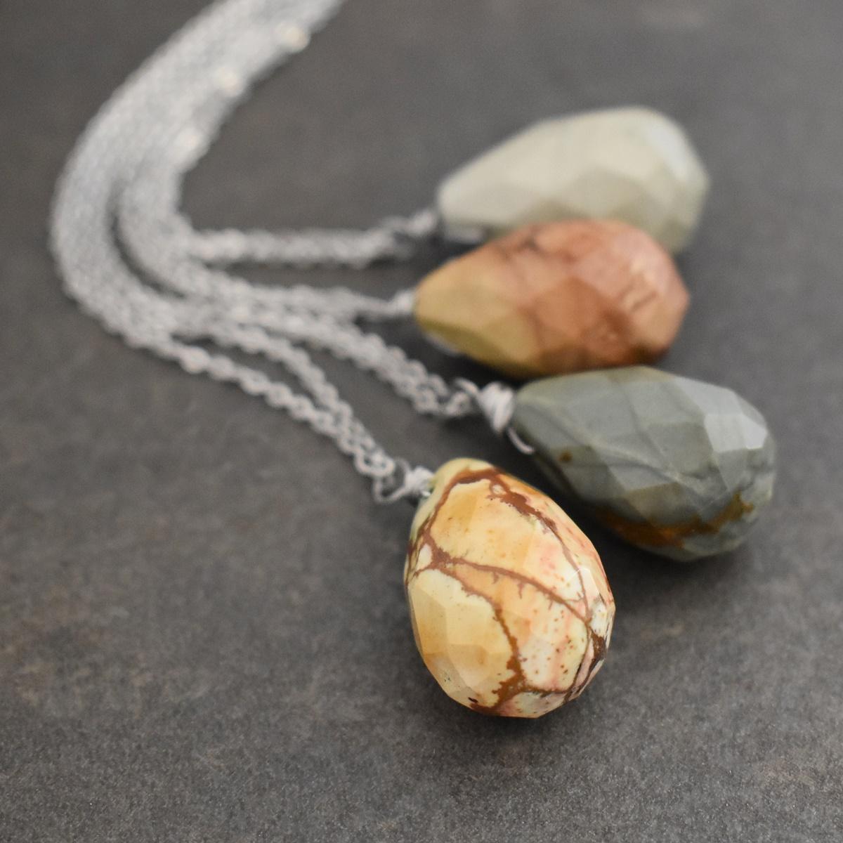 Picture jasper drop necklaces
