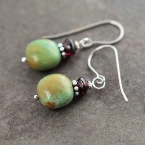 dark maroon and green brown gemstone earrings