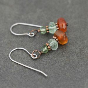 green and orange gemstone earrings