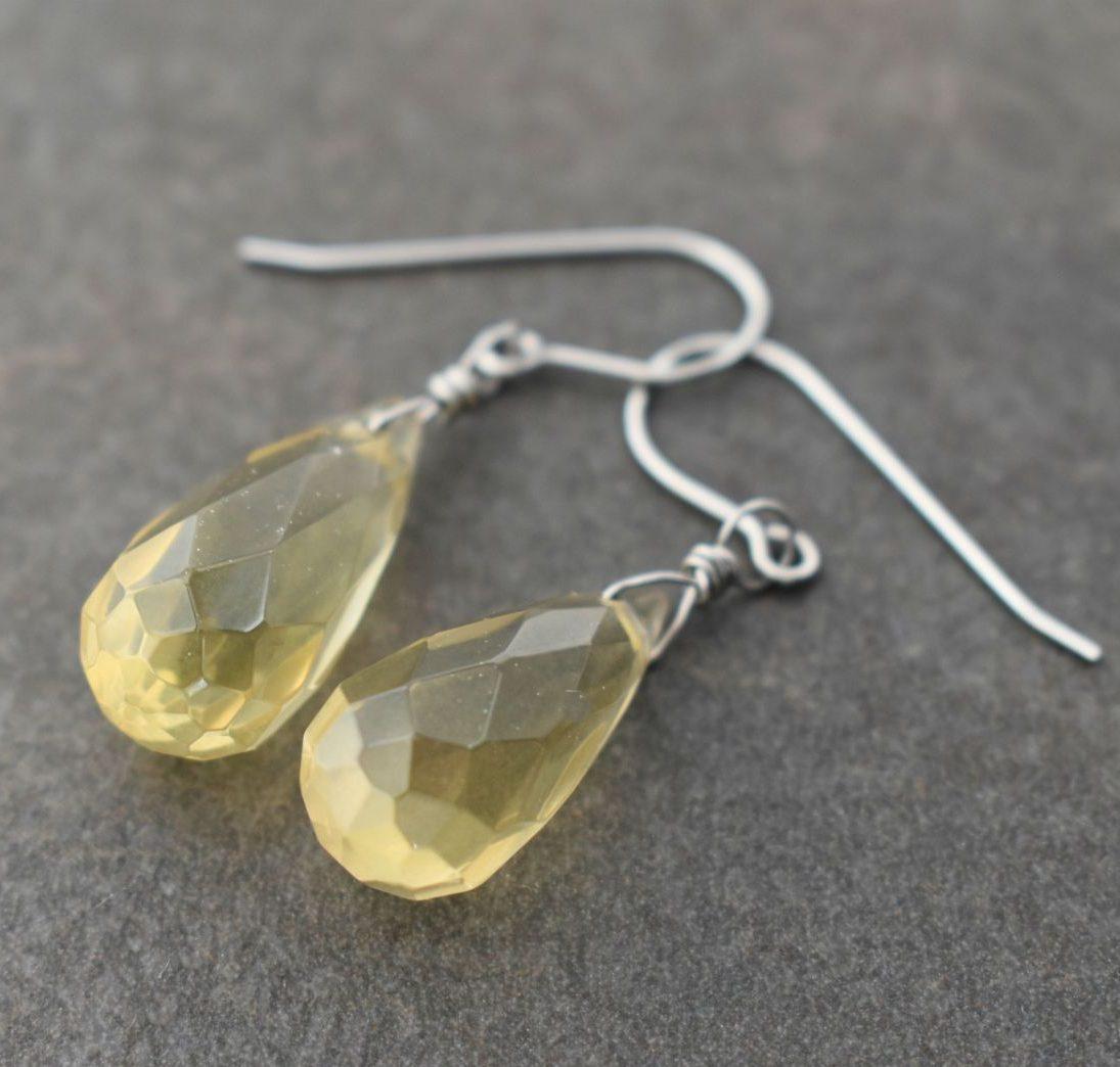 Lemon Quartz Drop Gemstone Earrings
