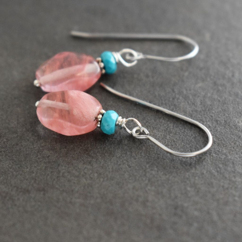 turquoise and pink gemstones earrings