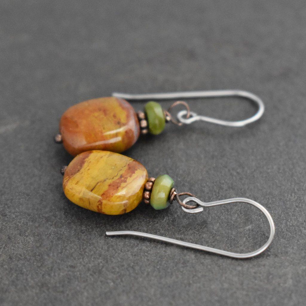 Green and rust mustard Gemstone earrings