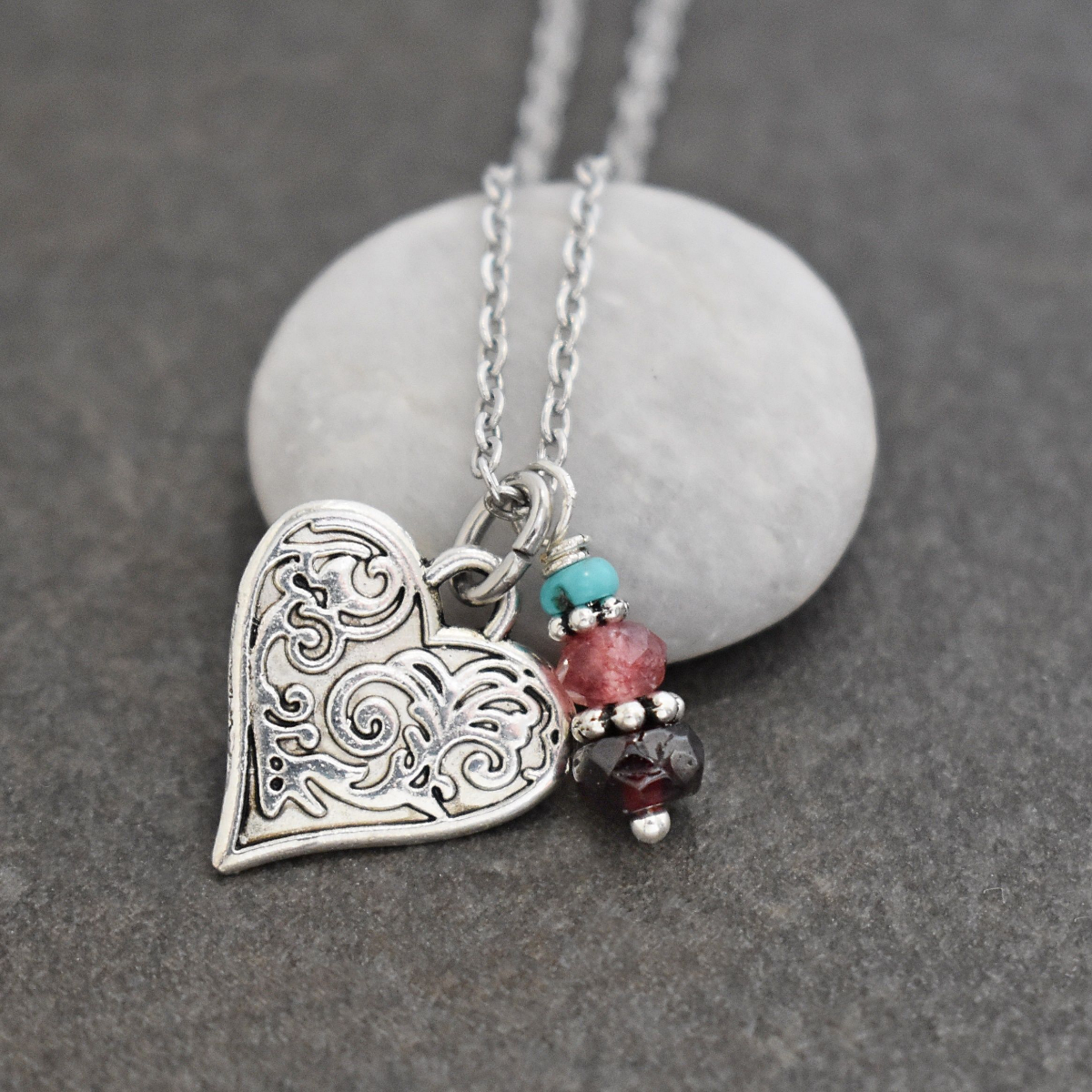 Victorian Floral Heart Necklace