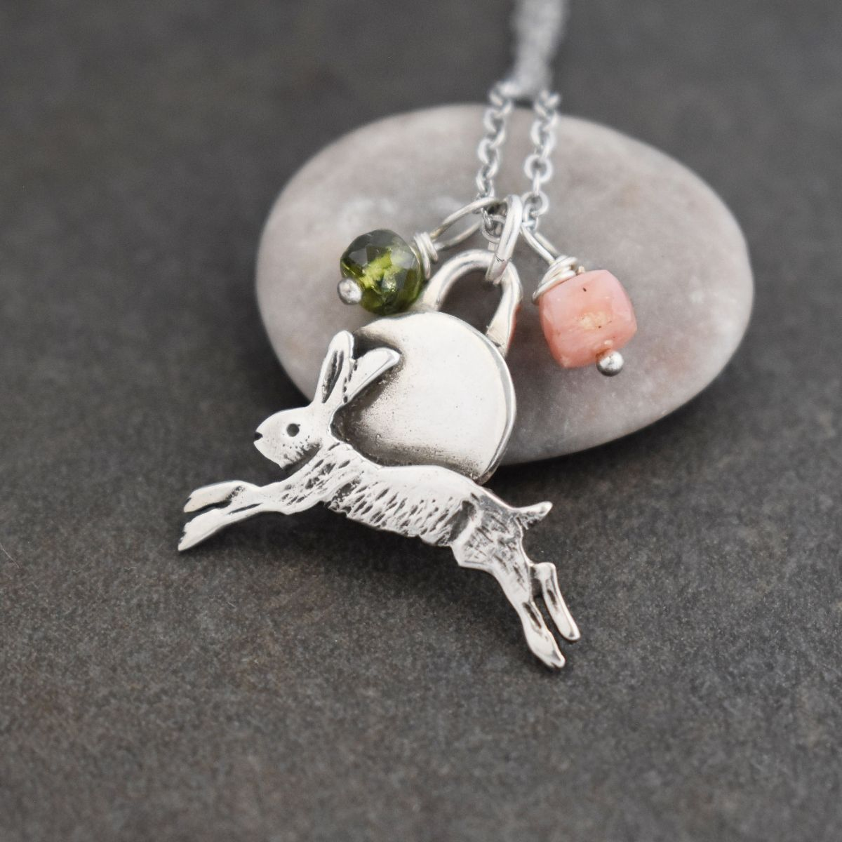 Silver jumping hare with pink opal
