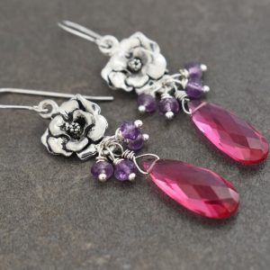 silver 3d rose with purple and pink gemstones