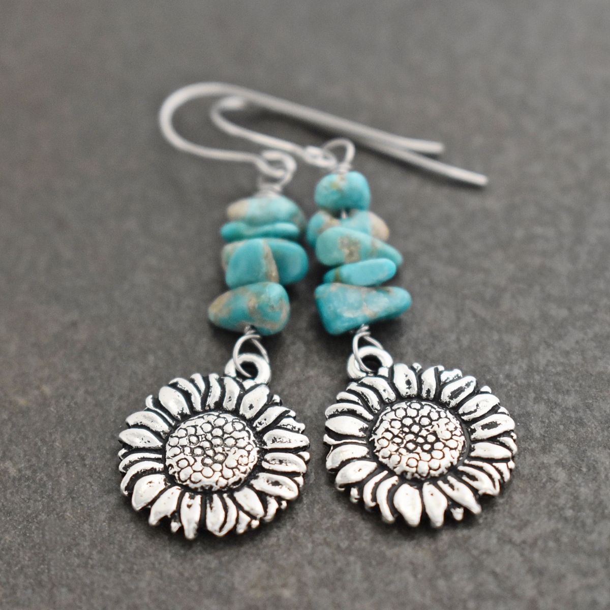 Sunflowers with turquoise earrings (3)