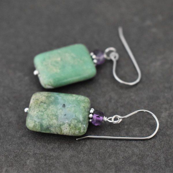 Amethyst & Chrysoprase earrings for sister-in-law birthday gift