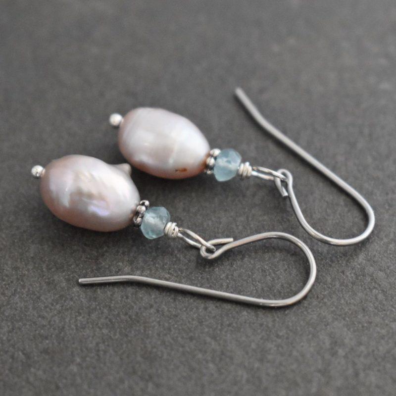 Apatite, Lavender Pink Pearl Earrings