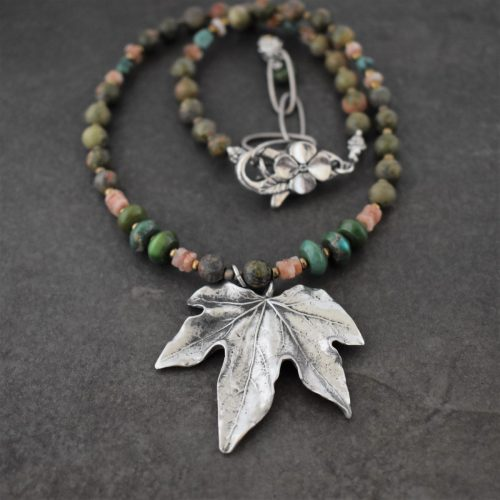 beaded Maple Leaf Necklace