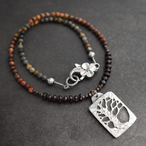 Beaded Picasso Jasper Tree Necklace