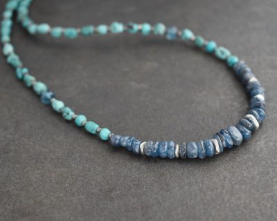 Beaded Turquoise & blue Kyanite Necklace