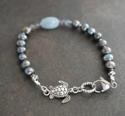 Sea Turtle Bracelet with Gray Pearls
