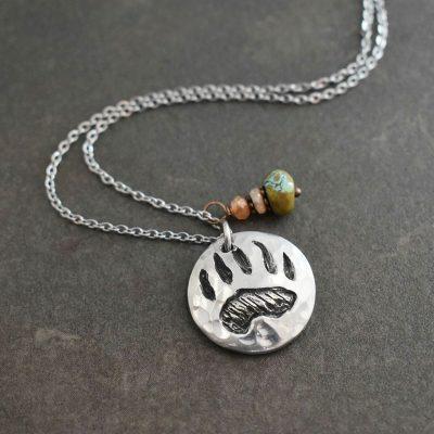 Bear track with gemstones