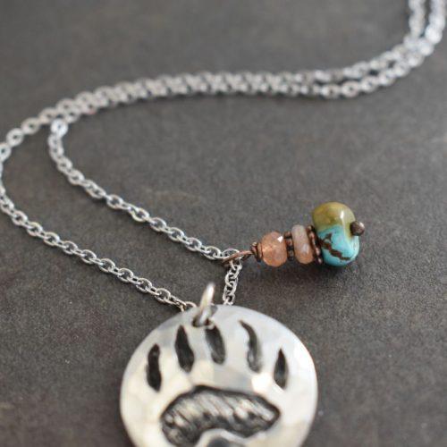 Sunstone and turquoise gemstone with bear print pendant