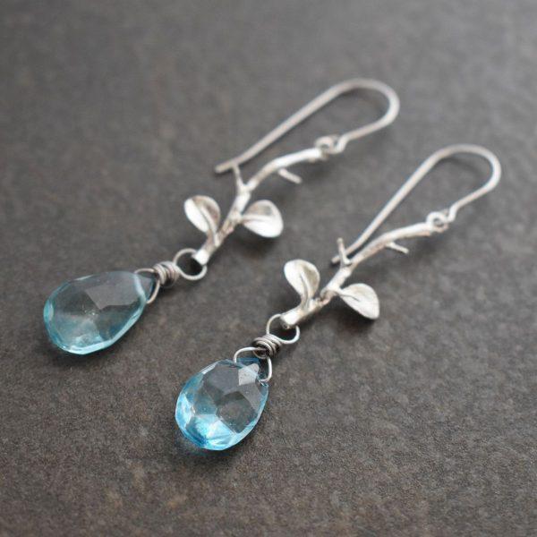 Twig Earrings with blue topaz