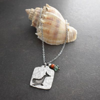 whale with coral & green fluorite