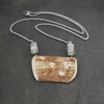 Caribou Antler moonstone on 20 Inch stainless steel chain