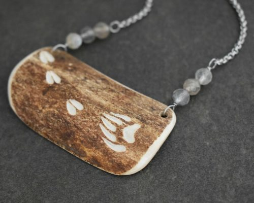 Caribou Antler with carved bear and moose prints