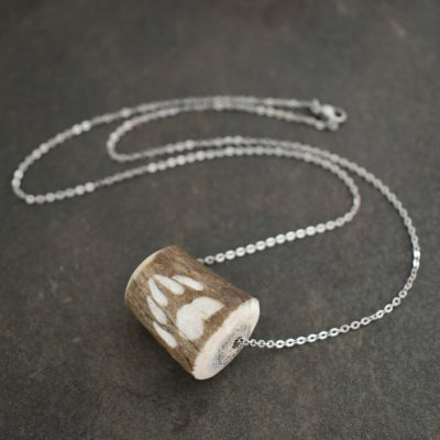 Carved Dark Elk antler with bear elk track Necklace