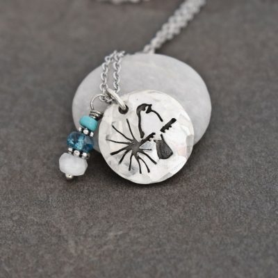 Chickadee necklace with turquoise, topaz, moonstone