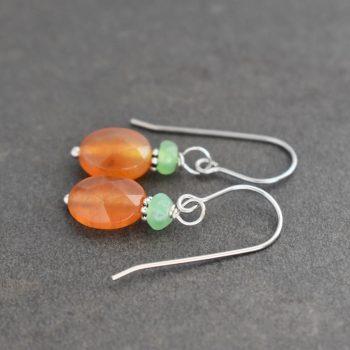 Chrysoprase & Carnelian Earrings