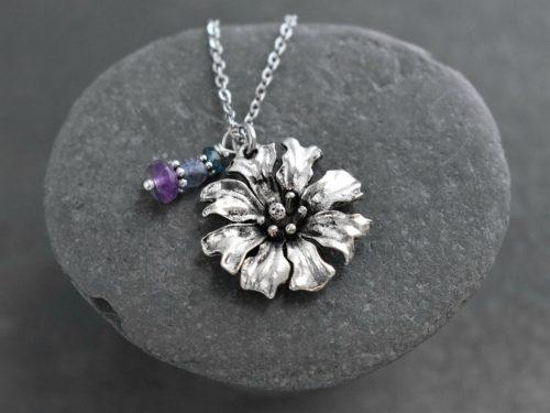 Cornflower pendant with amethyst feburary birthstone