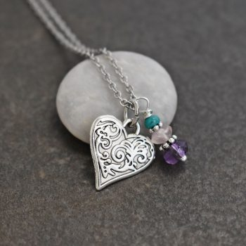 Victorian Floral Heart Necklace with amethyst