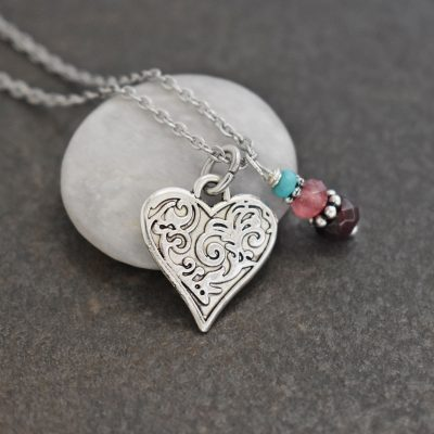 Victorian Floral Heart Necklace with garnet