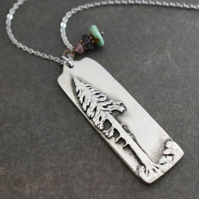 silver rectangle with tree pendant