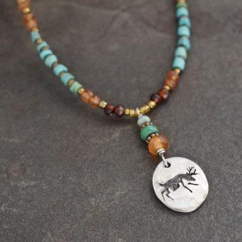 Beaded Deer Necklace